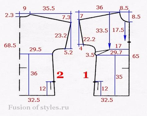 Выкройка летней блузки 54 размера