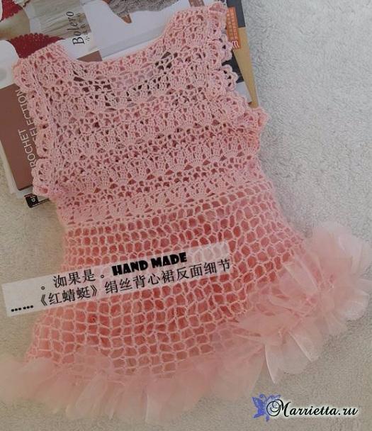 Нарядное платье крючком для маленькой принцессы (3) (525x608, 302Kb)