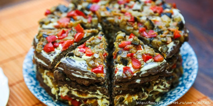 Печеночный торт с баклажанами (700x350, 208Kb)