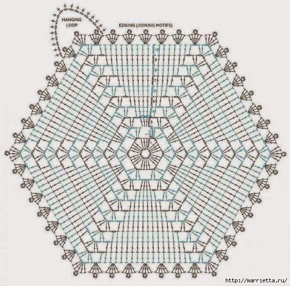 Разноцветный плед крючком шестиугольными мотивами (1) (564x557, 216Kb)