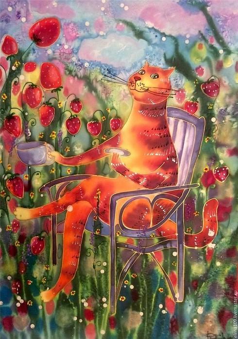 Роспись по шелку Прудниковой Елены Рыжее счастье (490x700, 130Kb)