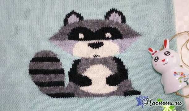 Детский пуловер с ЕНОТОМ спицами (2) (611x359, 217Kb)