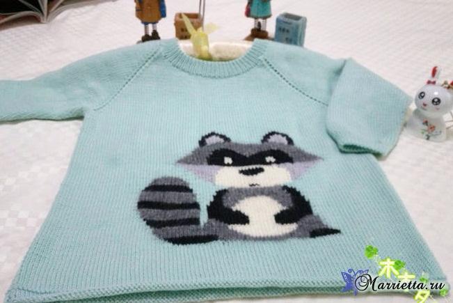 Детский пуловер с ЕНОТОМ спицами (4) (651x435, 218Kb)