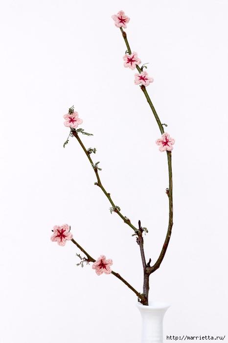 Цветущая вишня крючком. Декоративные веточки (7) (466x700, 106Kb)