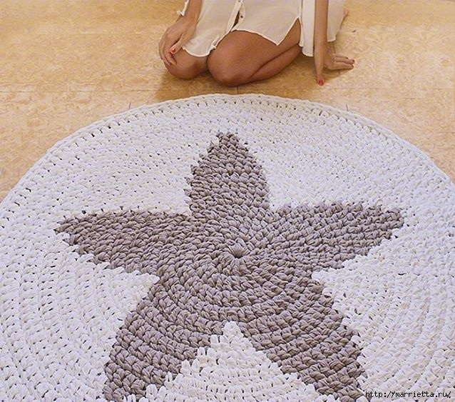 Вязание крючком. Круглый коврик со звездой (2) (638x563, 304Kb)