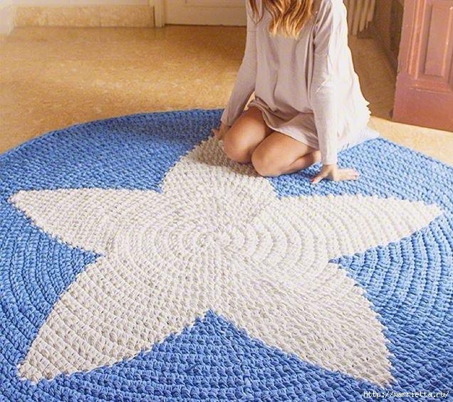Вязание крючком. Круглый коврик со звездой (4) (636x565, 278Kb)