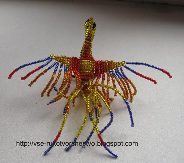 Птица из бисера поделки для