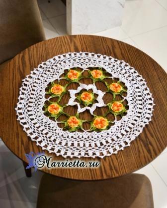Круглая ажурная салфетка с цветочками крючком (2) (336x417, 143Kb)
