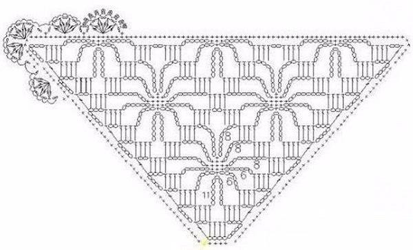 Вязание крючком паучок для шали 192