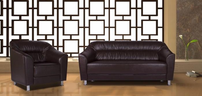 кожанный диван в офис