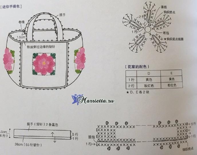 Сумочка-корзинка крючком из цветочных мотивов (2) (688x543, 266Kb)