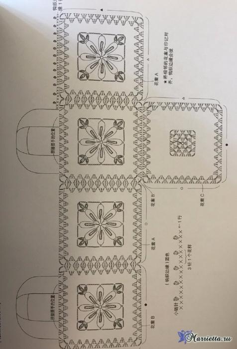 Сумочка-корзинка крючком из цветочных мотивов (4) (476x700, 272Kb)