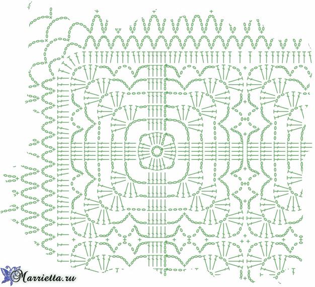 Декоративная салфетка для журнального столика. Крючком (5) (626x569, 469Kb)