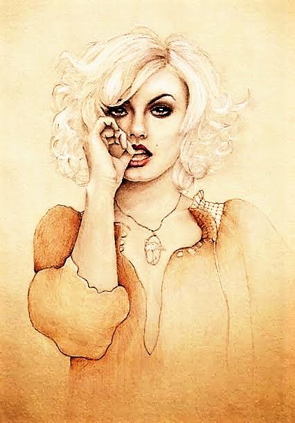 девушка блондинка рисунок (426x610, 85Kb)