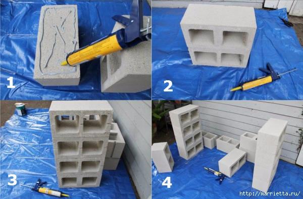 Для сада. Скамейки из блоков и досок (2) (600x394, 148Kb)