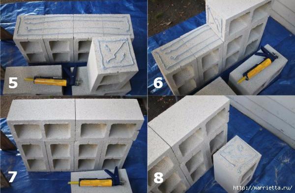 Для сада. Скамейки из блоков и досок (3) (600x394, 143Kb)