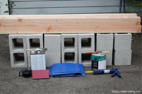 Для сада. Скамейки из блоков и досок (8) (600x399, 124Kb)
