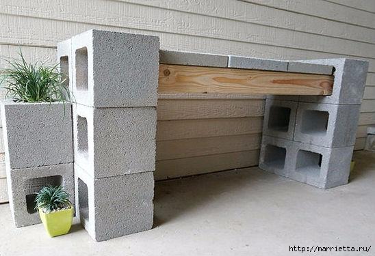 Для сада. Скамейки из блоков и досок (10) (548x375, 130Kb)
