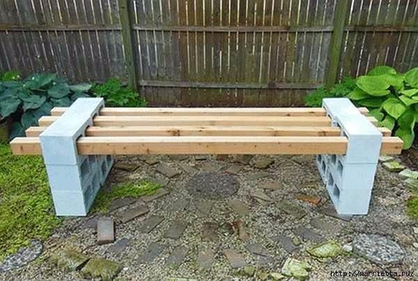 Для сада. Скамейки из блоков и досок (14) (600x404, 150Kb)