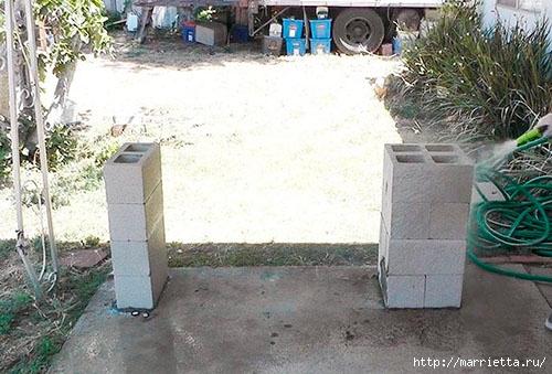 Для сада. Скамейки из блоков и досок (20) (500x339, 146Kb)