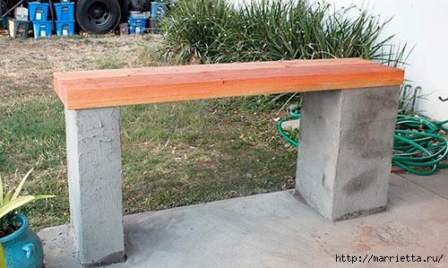 Для сада. Скамейки из блоков и досок (26) (500x299, 138Kb)