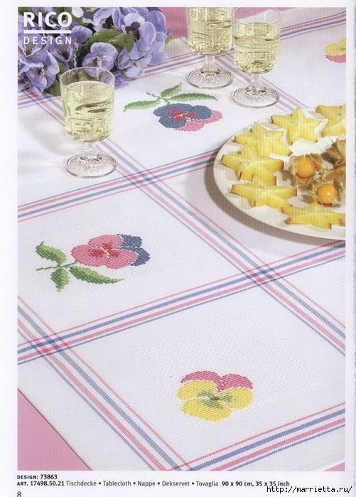 Нежная весенняя вышивка для скатерти. Схемы (19) (501x700, 304Kb)