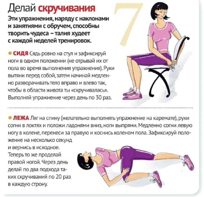 Как сделать тонкую талию упражнения с