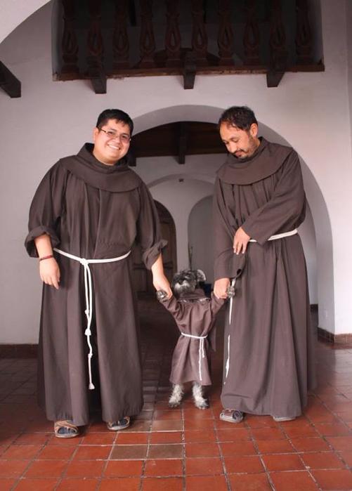 Знакомьтесь с новый членом францисканского братства. Это песик по кличке Кармело, которого решил приютил монастырь.