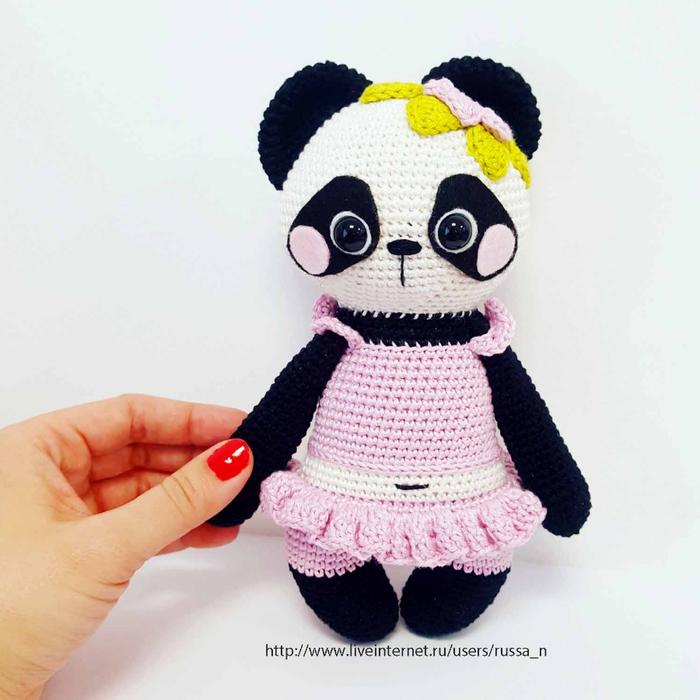 Панда вязанная спицами 2