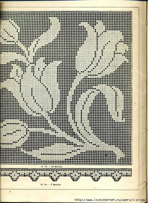 Филейное вязание листья с веткой