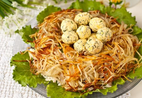 Салат гнездо глухаря классический рецепт пошаговый рецепт