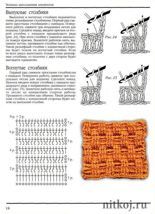 Вязание выпуклых и вогнутых столбиков 31