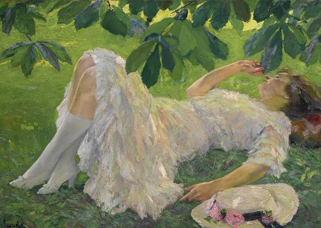 Лежащая женщина в белом (Reclining Woman In White) (656x465, 407Kb)