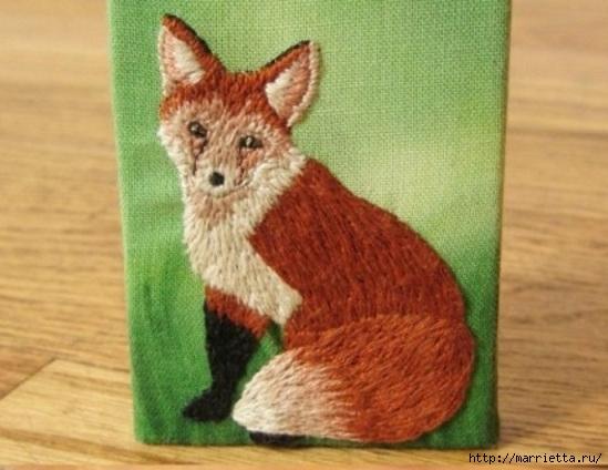 Панно с лисичкой. Вышиваем гладью (1) (549x424, 143Kb)