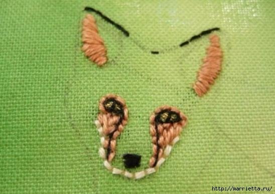 Панно с лисичкой. Вышиваем гладью (11) (548x387, 134Kb)