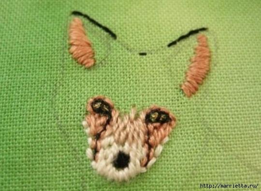 Панно с лисичкой. Вышиваем гладью (13) (540x394, 139Kb)
