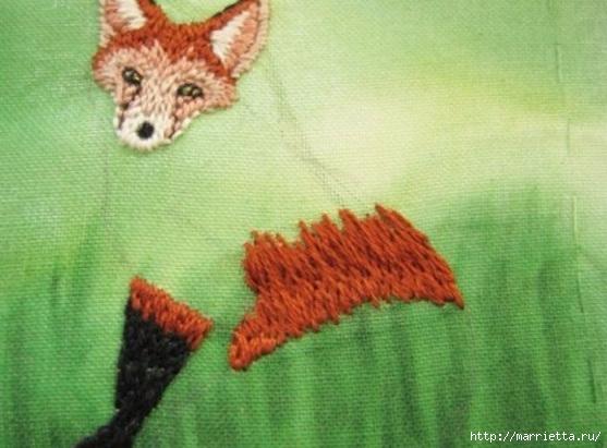 Панно с лисичкой. Вышиваем гладью (25) (557x411, 146Kb)