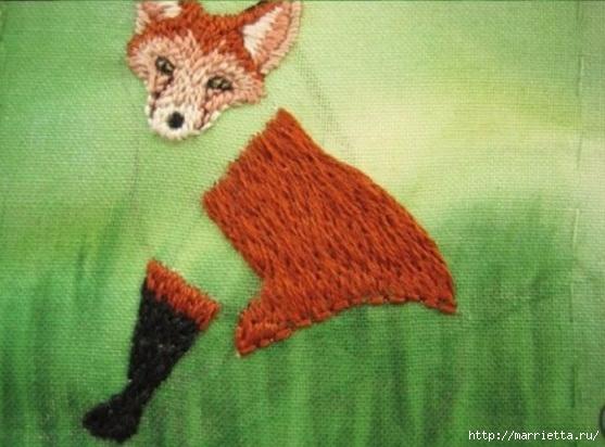 Панно с лисичкой. Вышиваем гладью (27) (557x412, 149Kb)