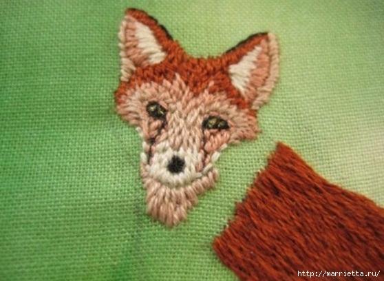 Панно с лисичкой. Вышиваем гладью (29) (558x408, 148Kb)