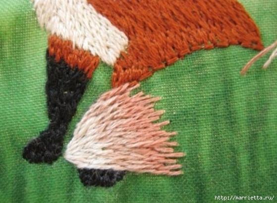 Панно с лисичкой. Вышиваем гладью (33) (559x411, 158Kb)