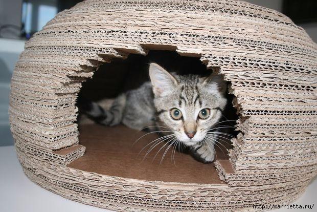 Для кошки - круглый домик из картона (2) (620x414, 204Kb)