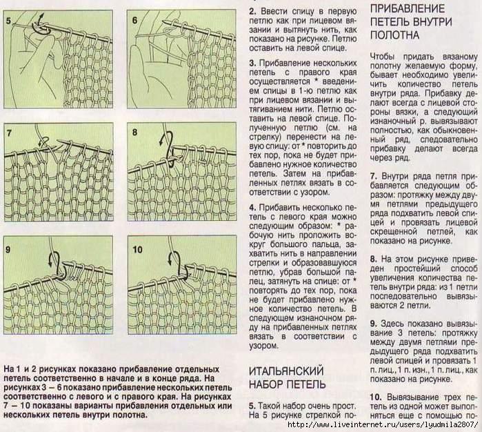 Вязание лицевых и изнаночных петель в круговом вязании