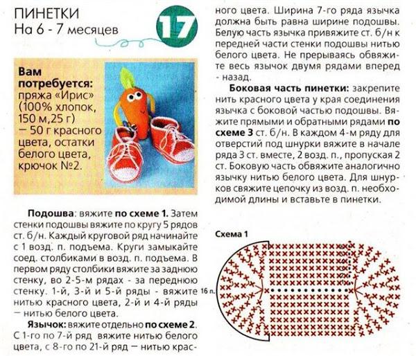 Схемы и описание вязания детских кед