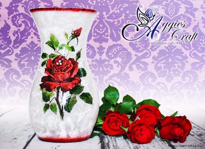 Декупаж стеклянной вазы для цветов. Видео мастер-класс (4) (696x505, 254Kb)