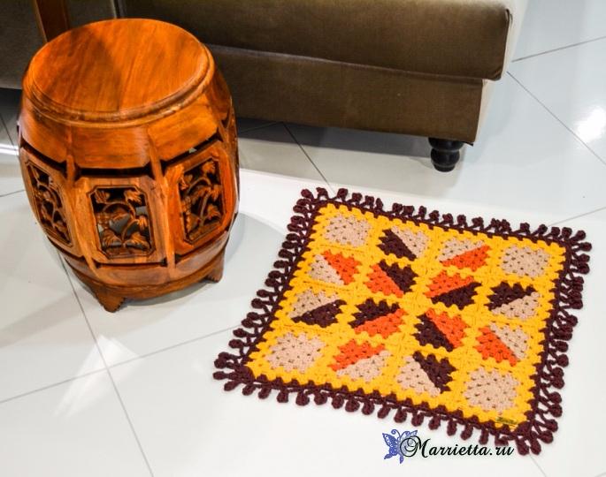 Коврик крючком бабушкиными квадратами. Схема (2) (685x540, 369Kb)