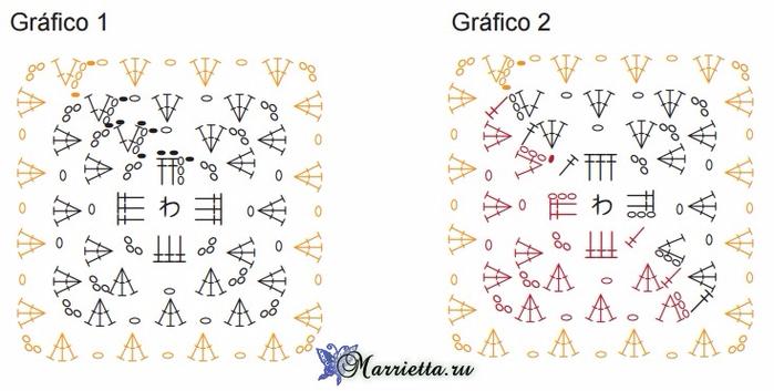Коврик крючком бабушкиными квадратами. Схема (4) (700x353, 241Kb)