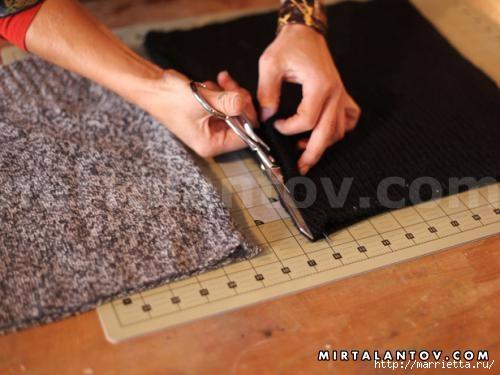 Переделка одежды. Снуд-шарф из старого свитера (3) (500x375, 102Kb)