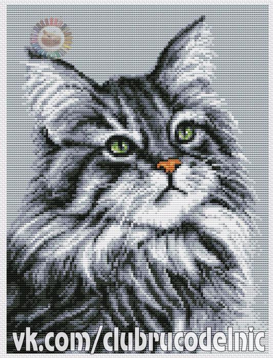 вышивка Серый кот (533x700, 481Kb)