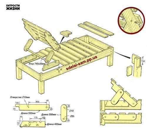 Изготовление шезлонгов из дерева своими руками
