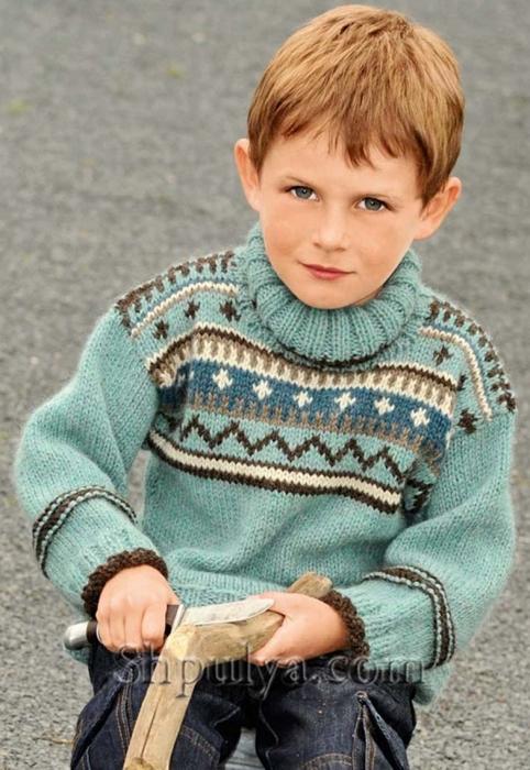 Пуловер с жаккардовым узором для мальчика, пуловер для мальчика спицами описание схема, детский пуловер спицами описание схема, пуловер для мальчика 4-8 лет связать, вязание для детей с описанием, вязание для мальчиков, пуловер для мальчика спицами описание схема, свитер для мальчика спицами, жаккардовый пуловер спицами, пряжа для вязания спицами, купить пряжу, сайт о вязании спицами, Шпуля сайт о вязании, www.shpulya.com/5557795_11 (482x700, 251Kb)
